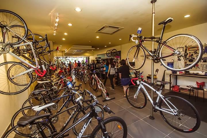 Khách đang chọn mua những mẫu xe đạp thể thao tại cửa hàng
