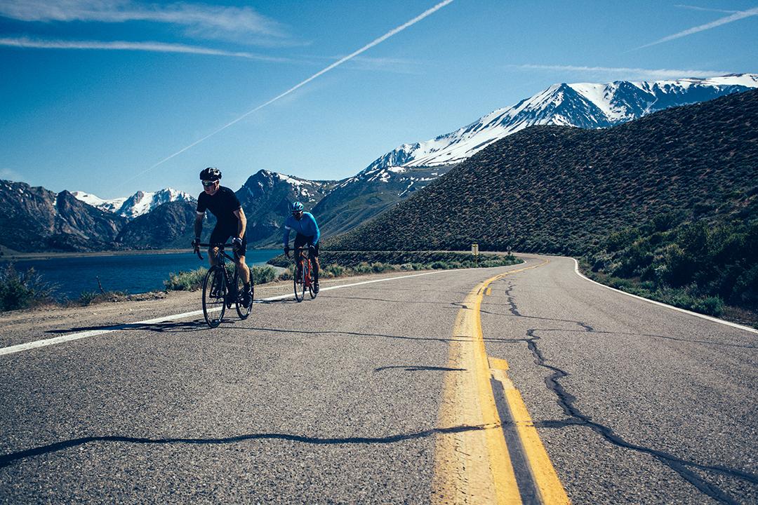 Hai người trung niên cùng nhau đạp xe đạp Giant dưới cảnh sắc thiên nhiên tươi đẹp