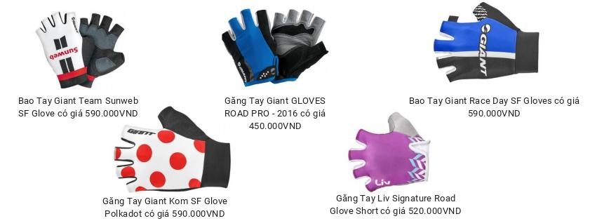 Một số sản phẩm găng tay đang có mặt tại Giant International